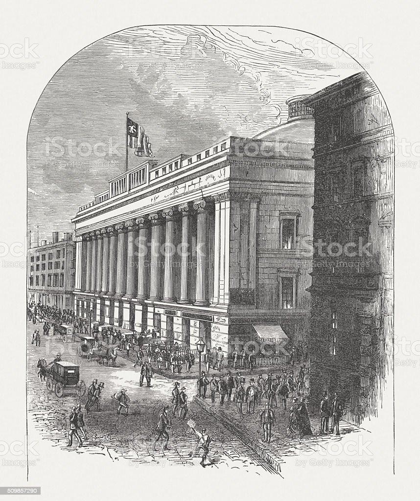 United States Custom House, Wall Street, New York, published 1880 vector art illustration