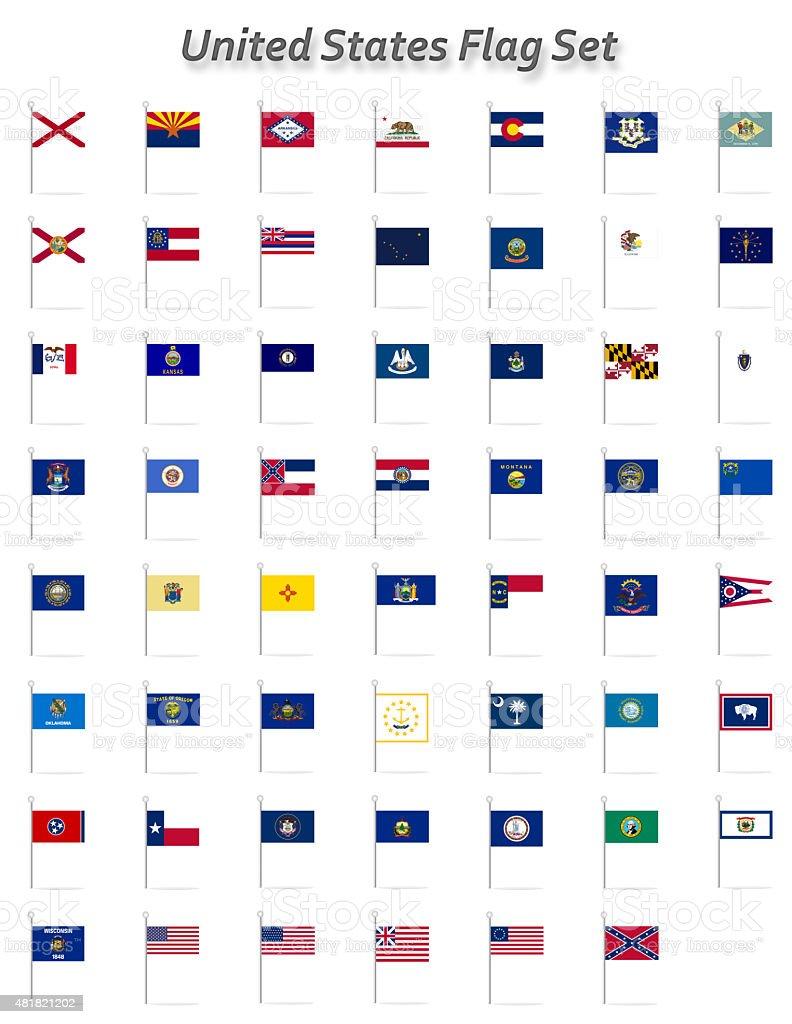 United States Flag Set vector art illustration