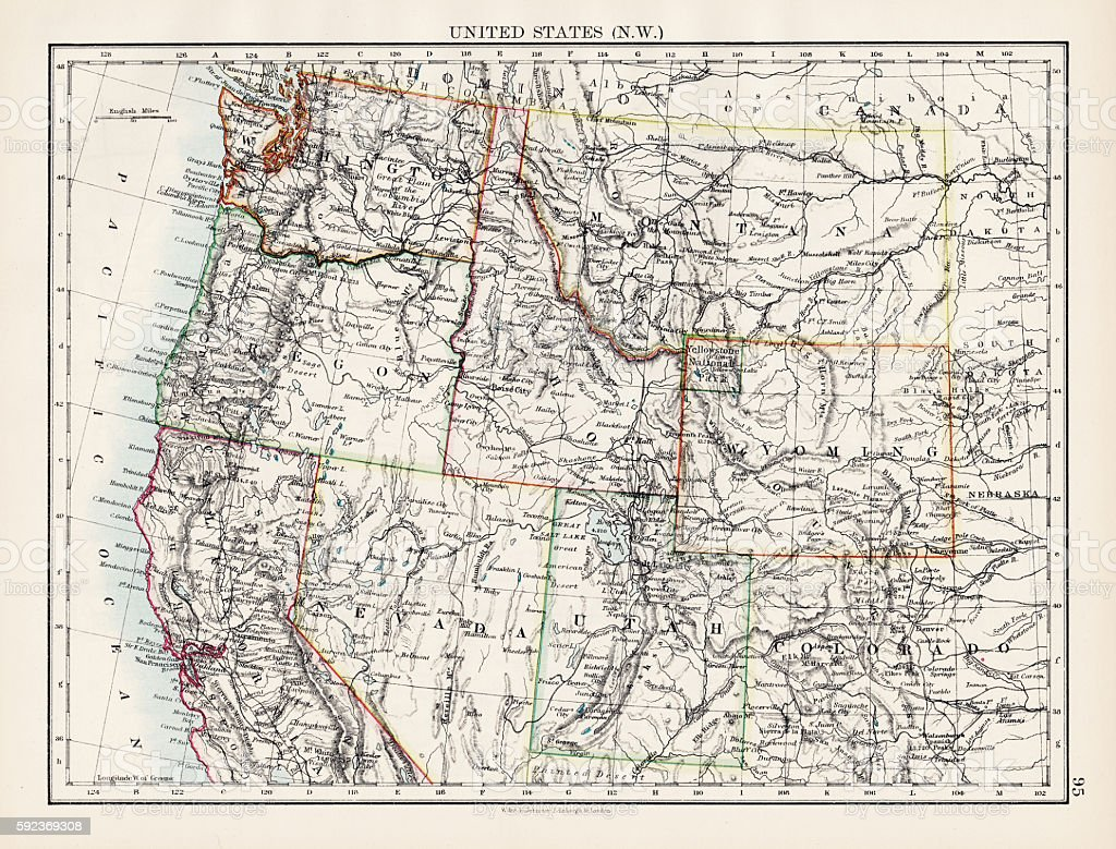 United States North West map 1897 vector art illustration
