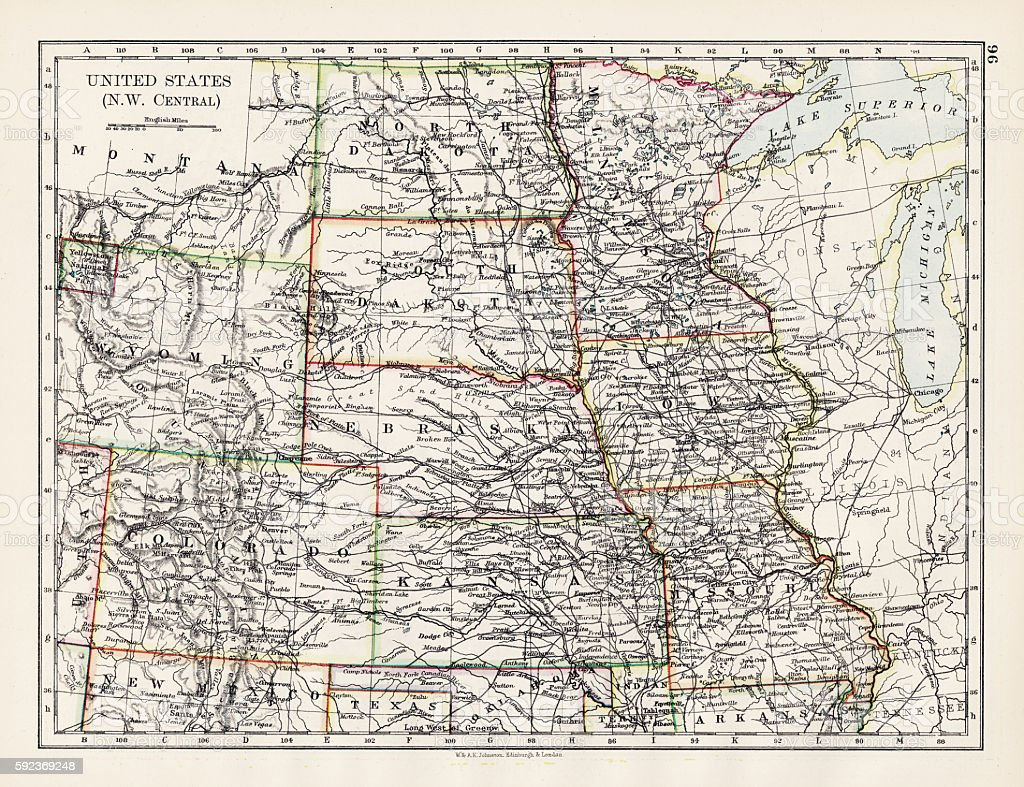 United States NW Central 1897 vector art illustration