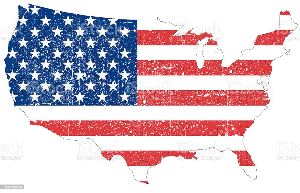 United States of America Map with grunges vector art illustration