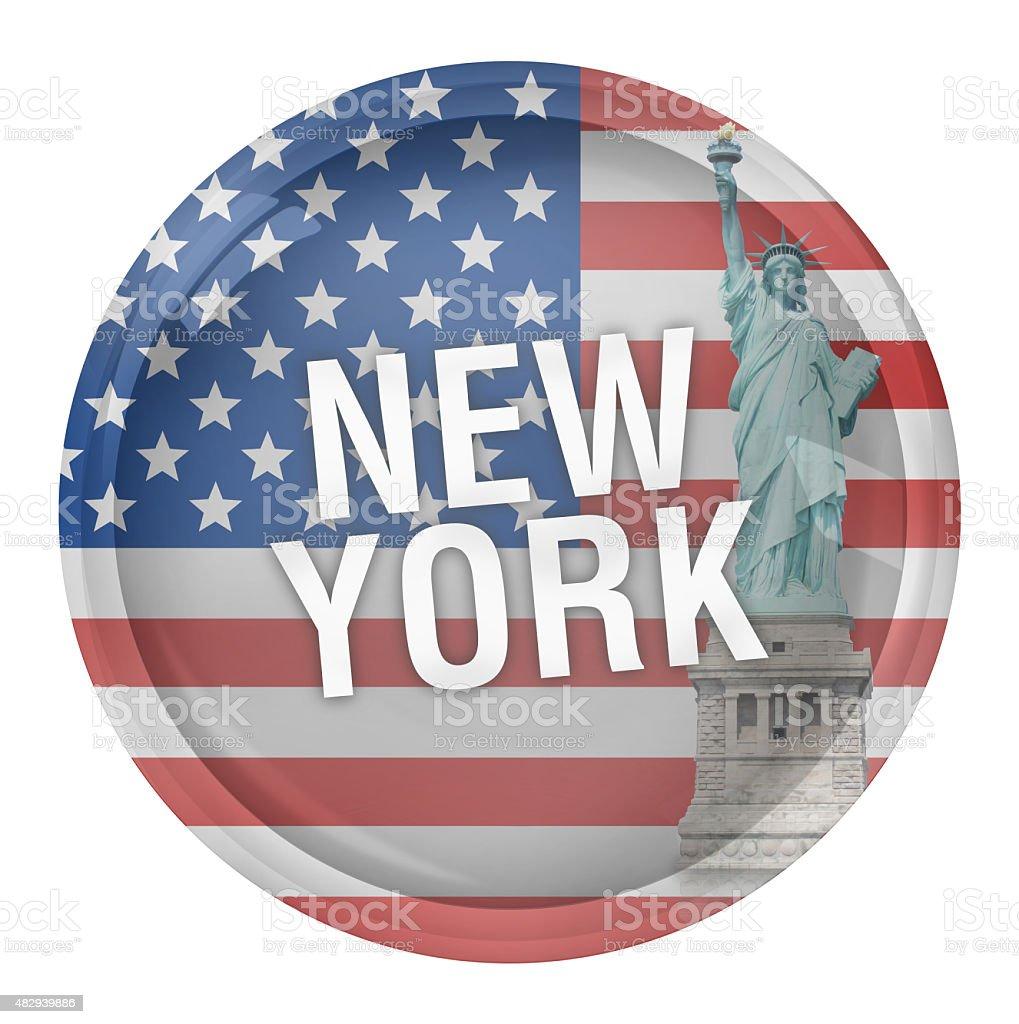 United States of America Round Glass Button vector art illustration