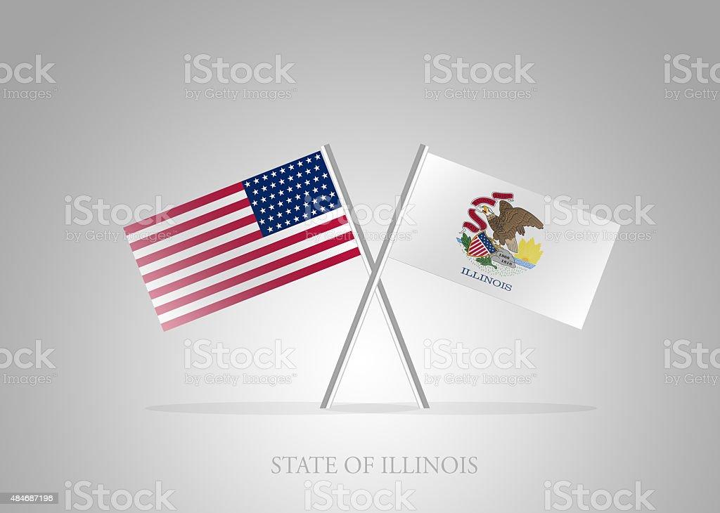 United States of America State of Illinois Mini Flag Series vector art illustration