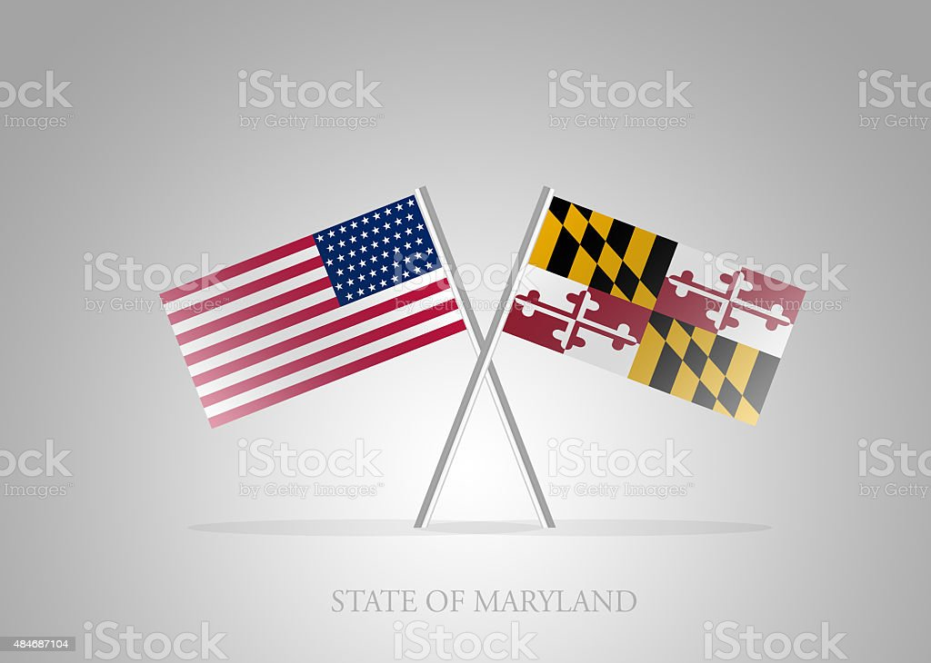 United States of America State of Maryland Mini Flag Series vector art illustration