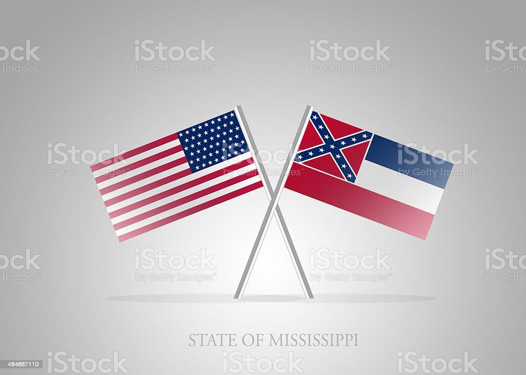 United States of America State of Mississippi Mini Flag Series vector art illustration