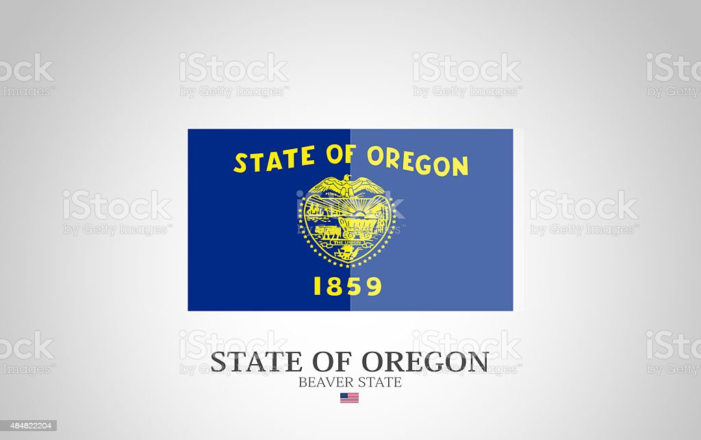 United States of America State of Oregon Flag Series vector art illustration