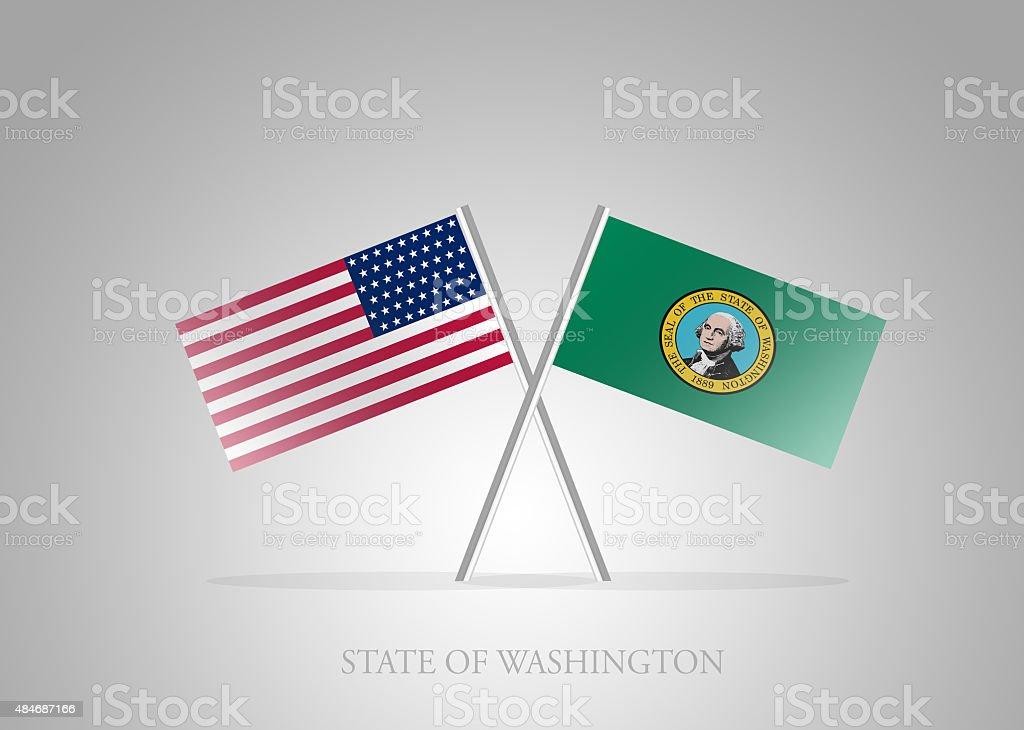 United States of America State of Washington Mini Flag Series vector art illustration