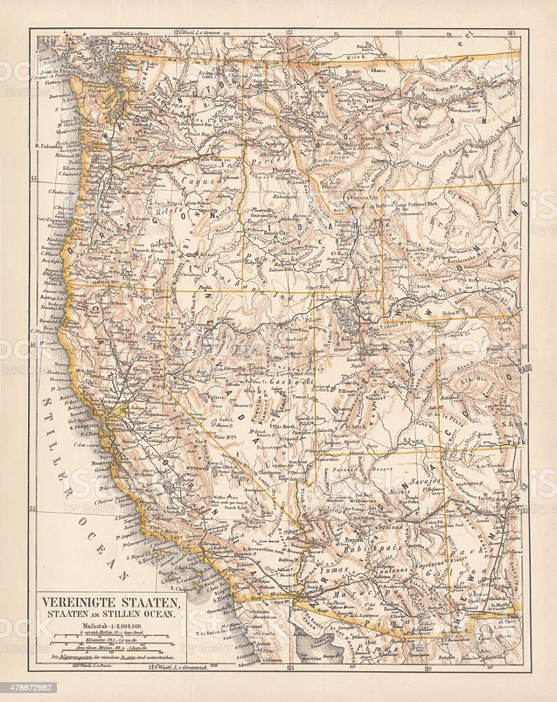 United States of America, West Coast, ithograph, published in 1878 vector art illustration