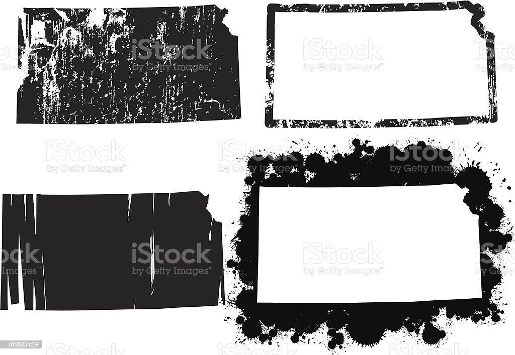 United States of Grunge - Kansas vector art illustration