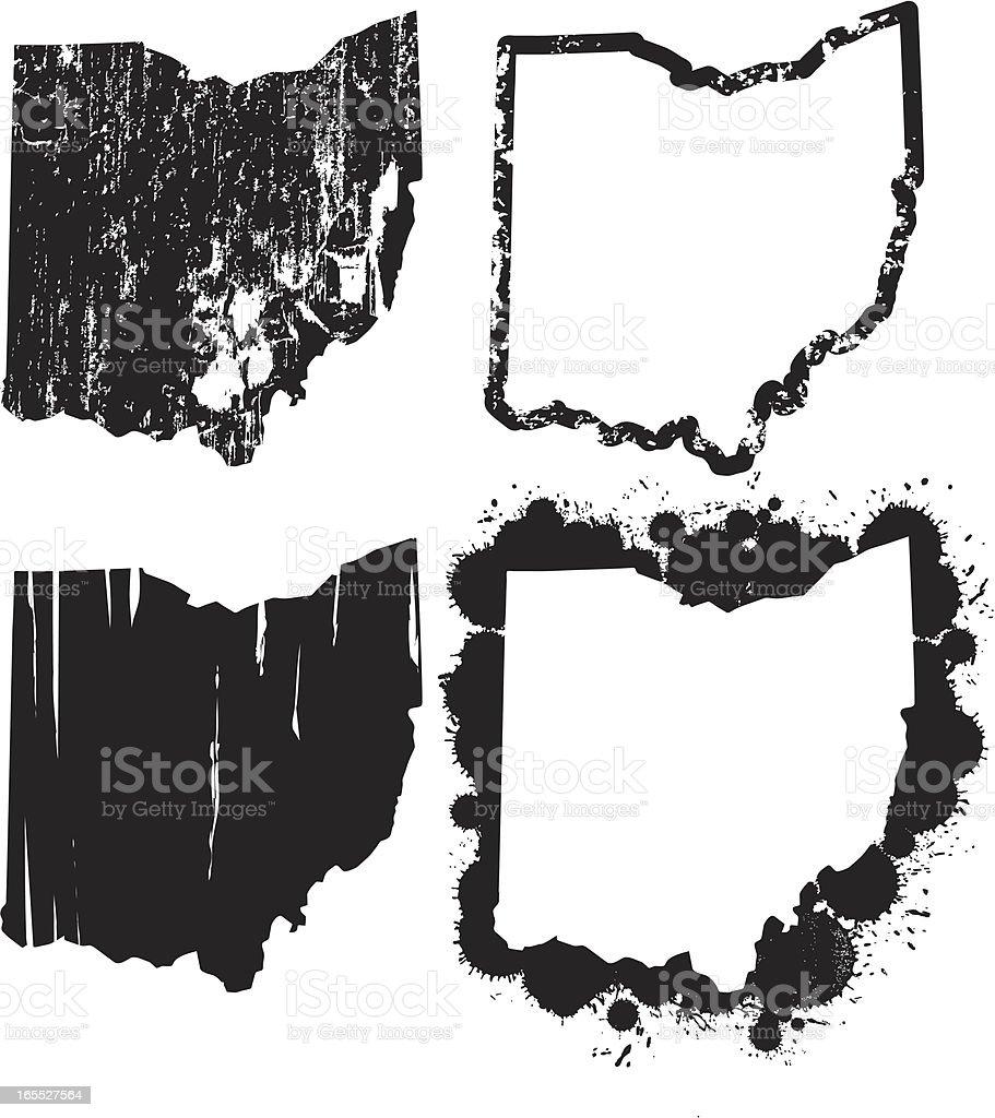 United States of Grunge - Ohio vector art illustration
