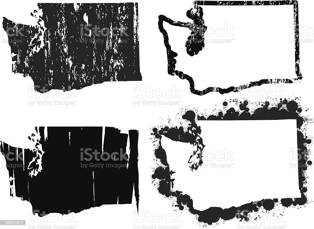United States of Grunge - Washington vector art illustration