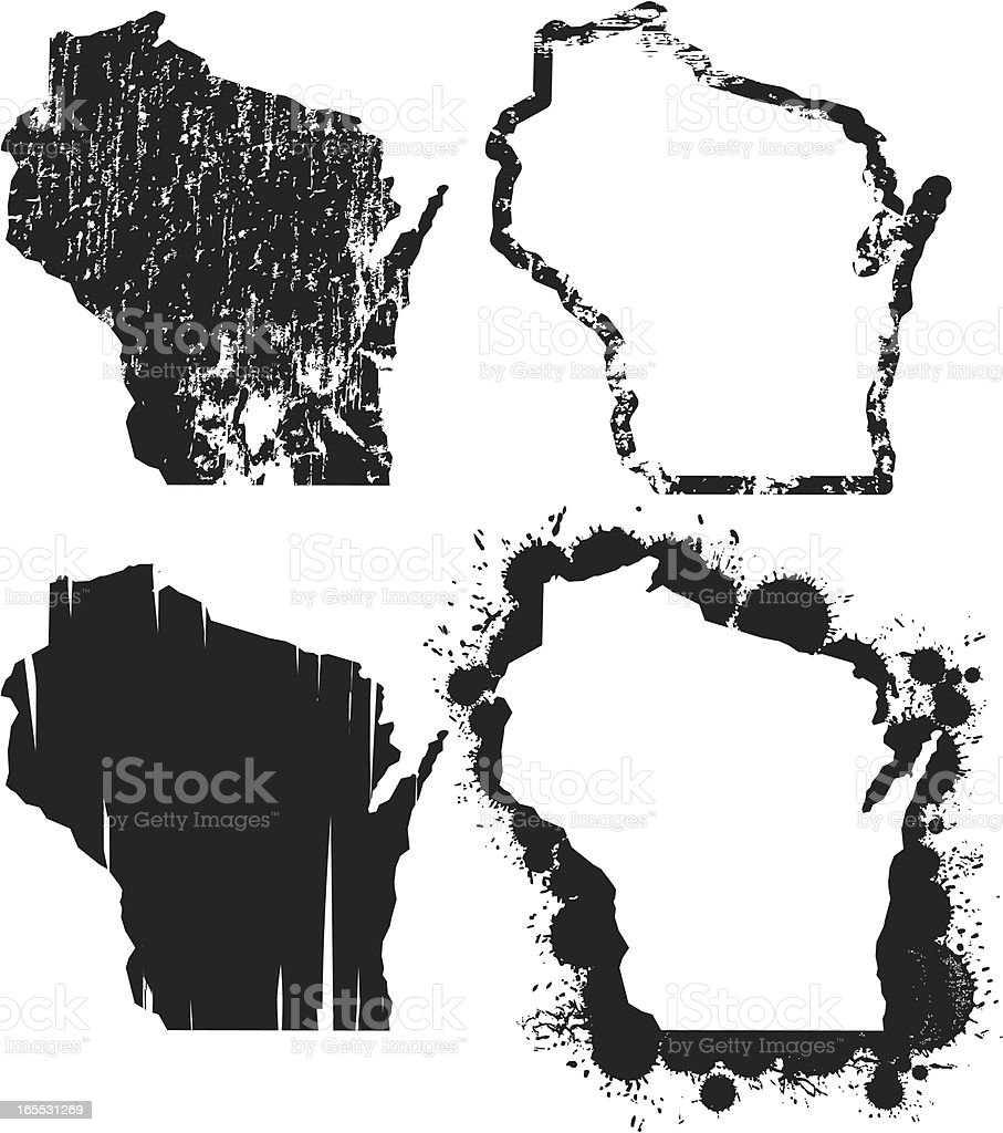 United States of Grunge - Wisconsin vector art illustration