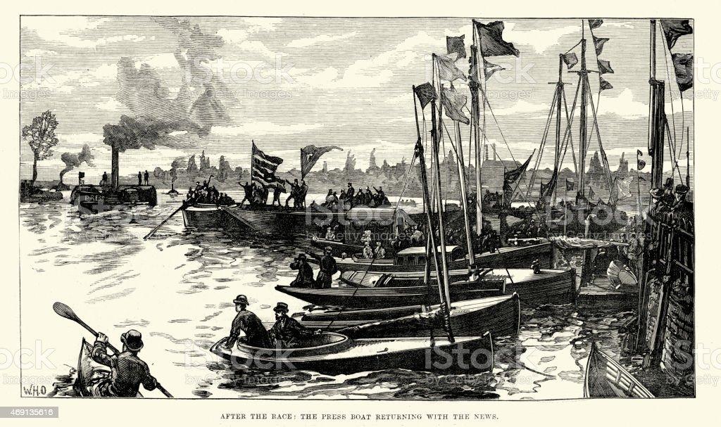 University Boat Race Oxford vs Cambridge 1882 vector art illustration