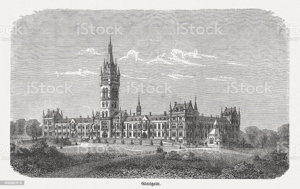 University of Glasgow, Scottland, wood engraving, published in 1873 vector art illustration