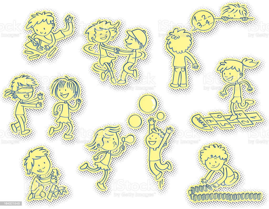 Unplugged fun – Children's games vector art illustration