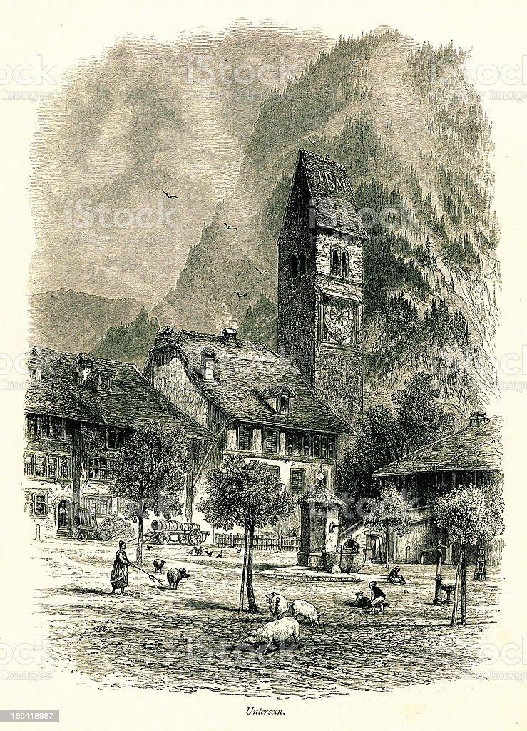 Unterseen, Switzerland I Antique European Illustrations royalty-free stock vector art