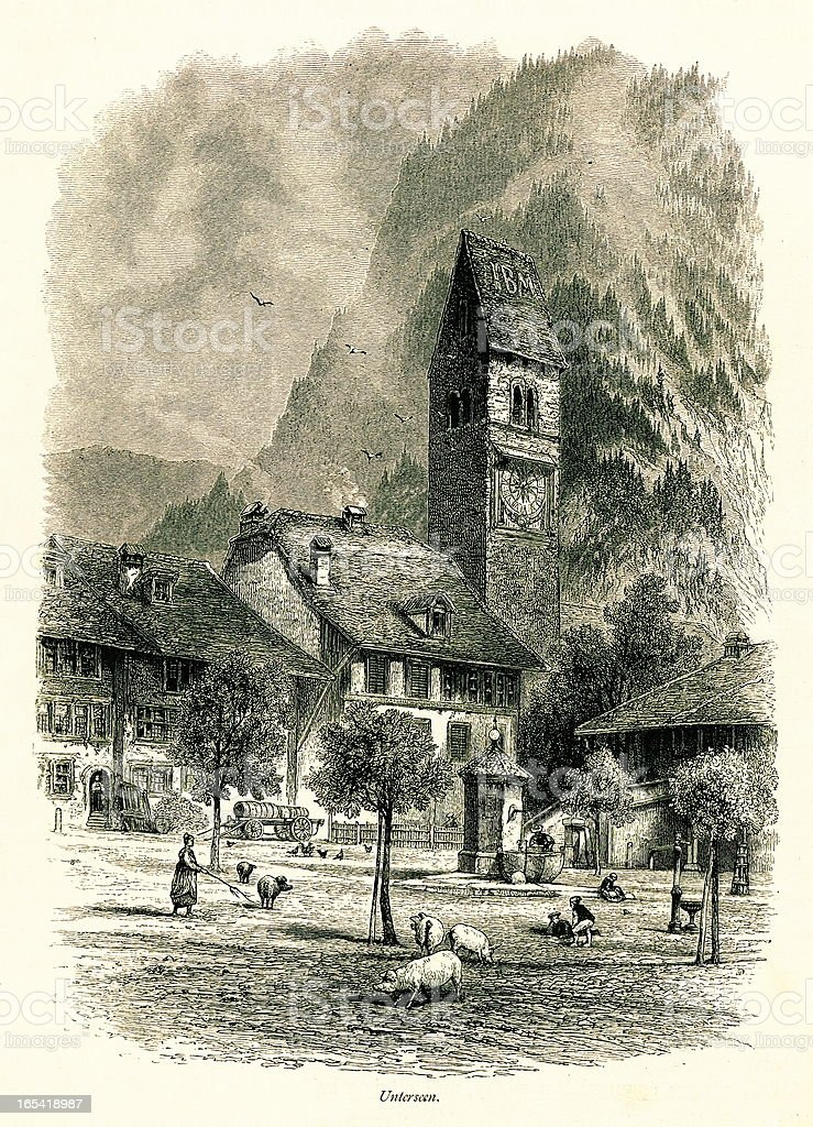 Unterseen, Switzerland I Antique European Illustrations vector art illustration