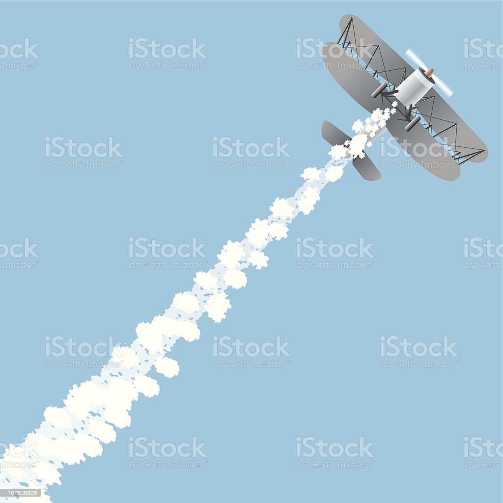 Up in the sky - Antique Airplane vector art illustration