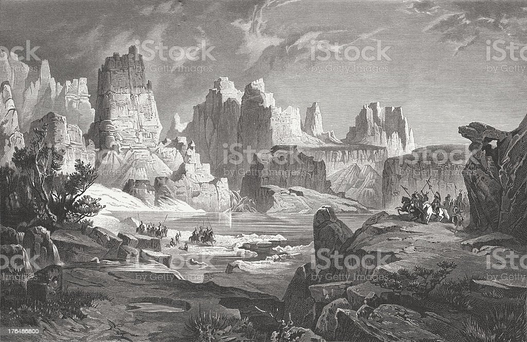 Upper Colorado River - by R. Cronau, publ. in 1883 vector art illustration