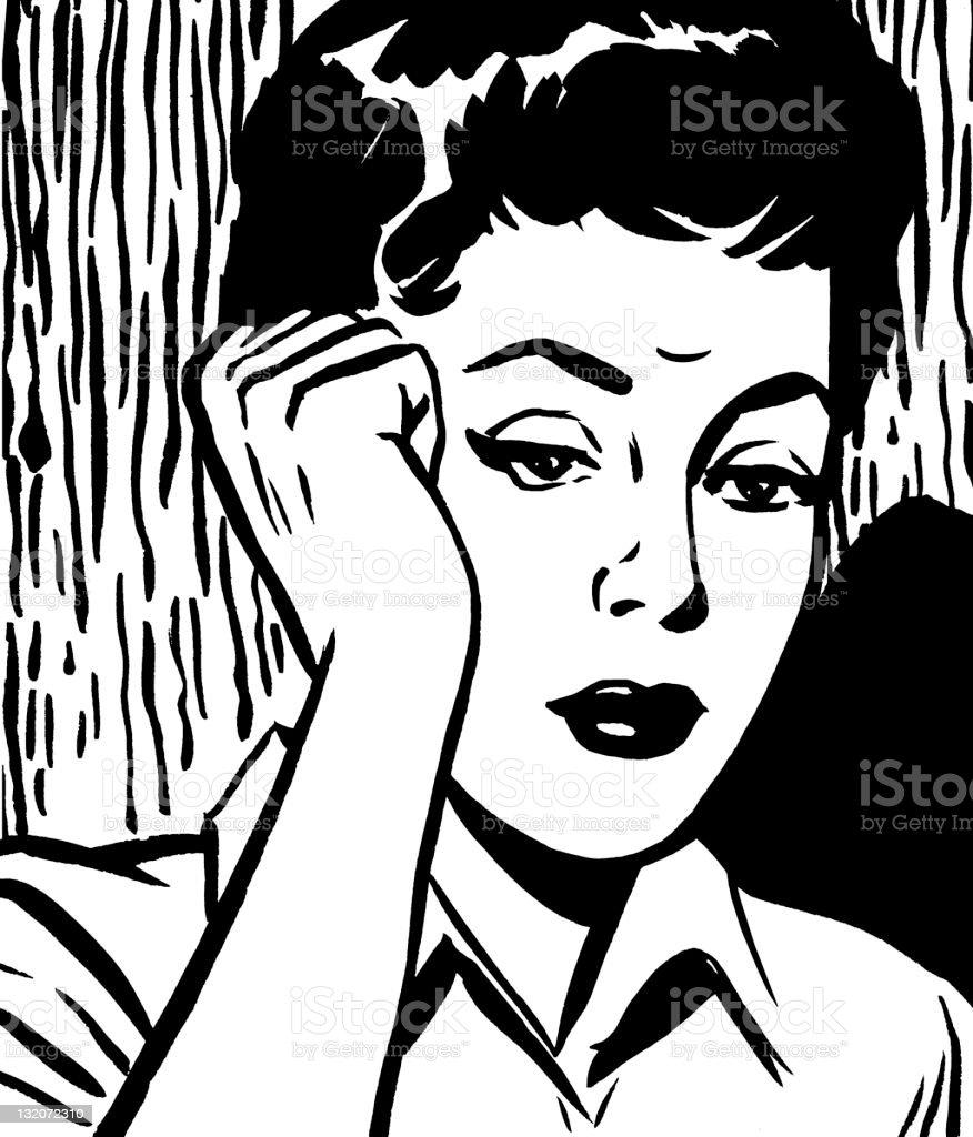 Upset Dark Haired Woman vector art illustration