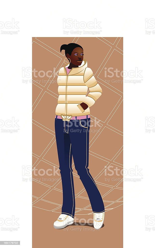 Urban black girl with sneakers and downjacket vector art illustration
