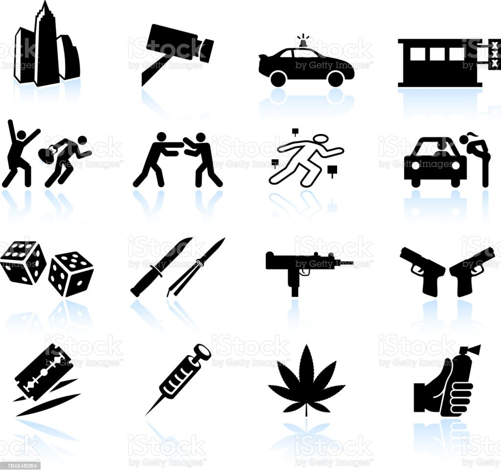 Urban crime and vice black & white icon set vector art illustration