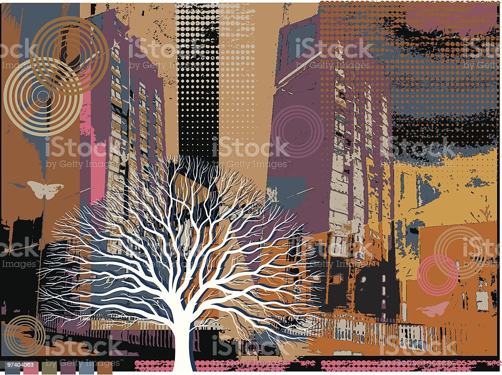 Urban decay with tree. royalty-free stock vector art