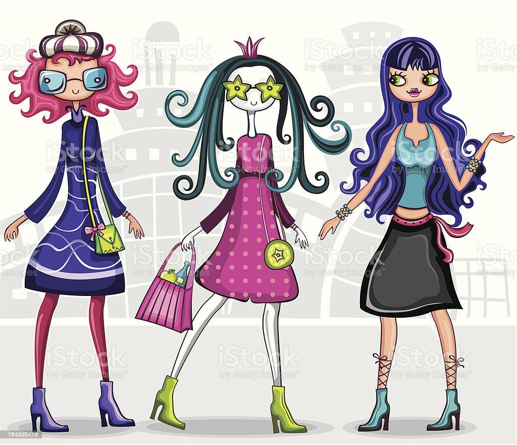 Urban fashion girls series royalty-free stock vector art