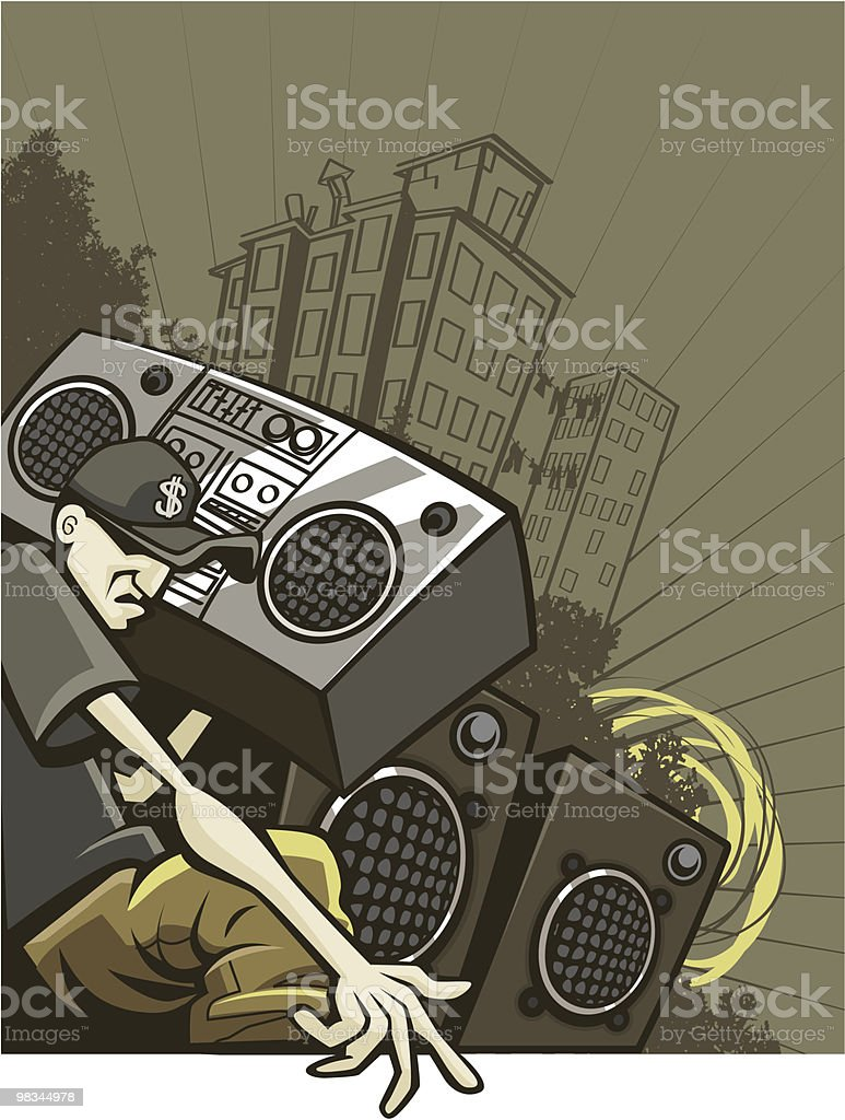 Urban Guy Listening to Old-School Boom Box vector art illustration