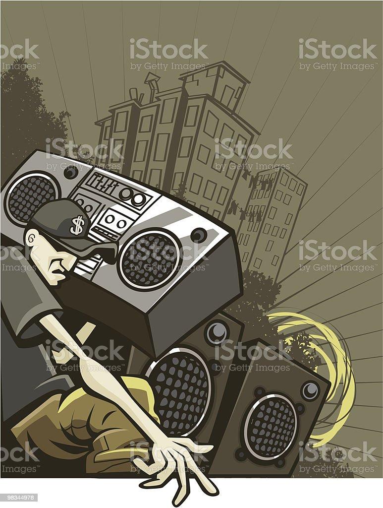 Urban Guy Listening to Old-School Boom Box vector art illustration