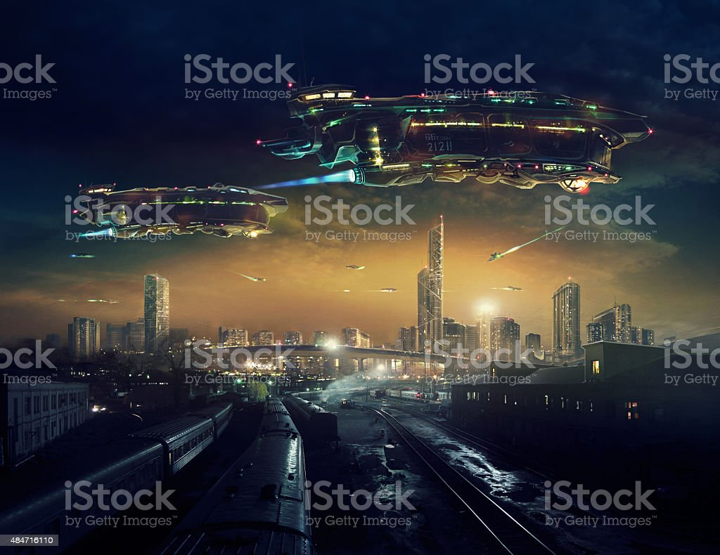 Urban landscape future. vector art illustration