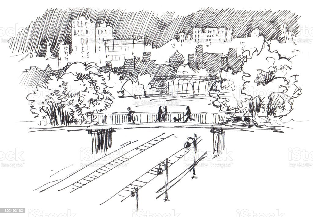Urban landscape. Urban view. Modern sity with high-rise buildings, parks, railroad bridge and railway. Ink sketch vector art illustration