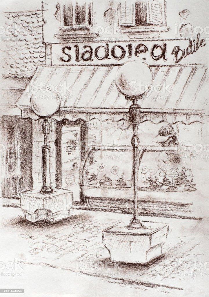 Urban landscape. Urban view. Small ice cream shop in European town. Ink sketch vector art illustration
