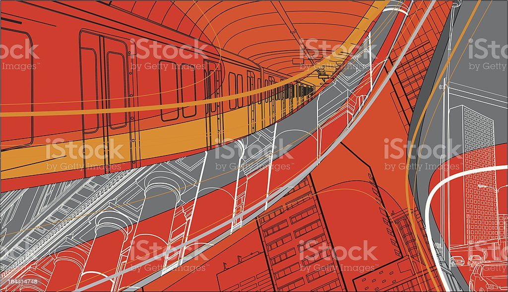 urban living collage vector art illustration