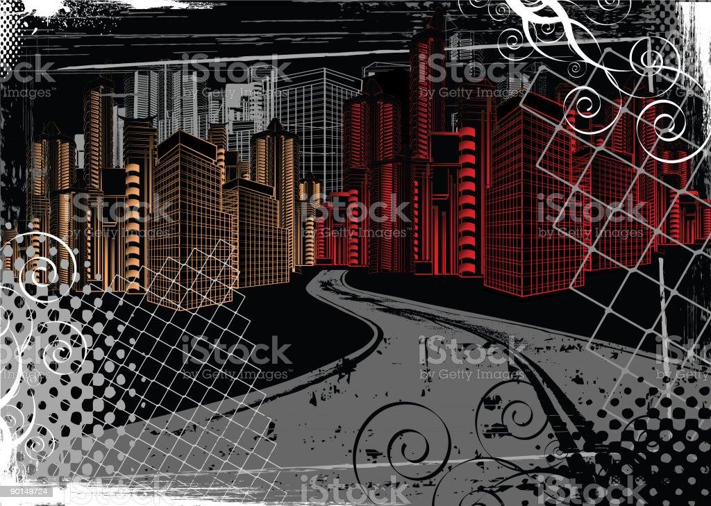 Urban Scene at Night royalty-free stock vector art