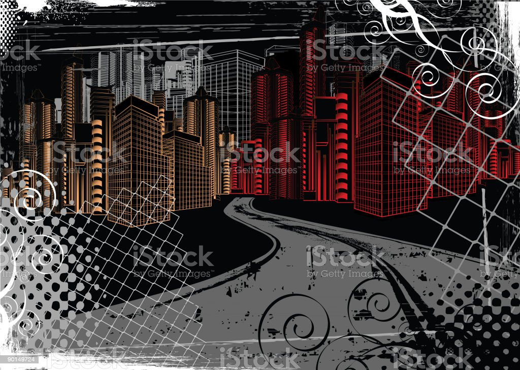 Urban Scene at Night vector art illustration