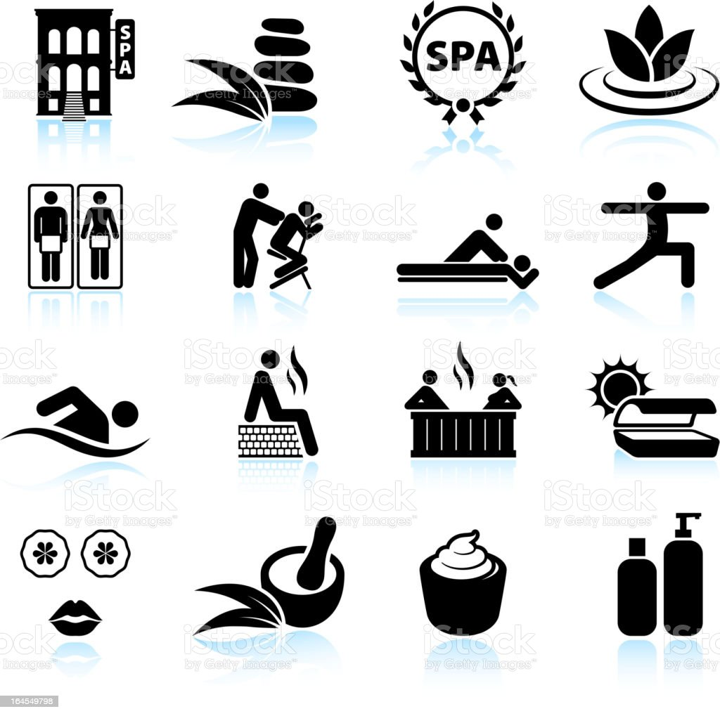 Urban spa and relaxation black & white vector icon set vector art illustration