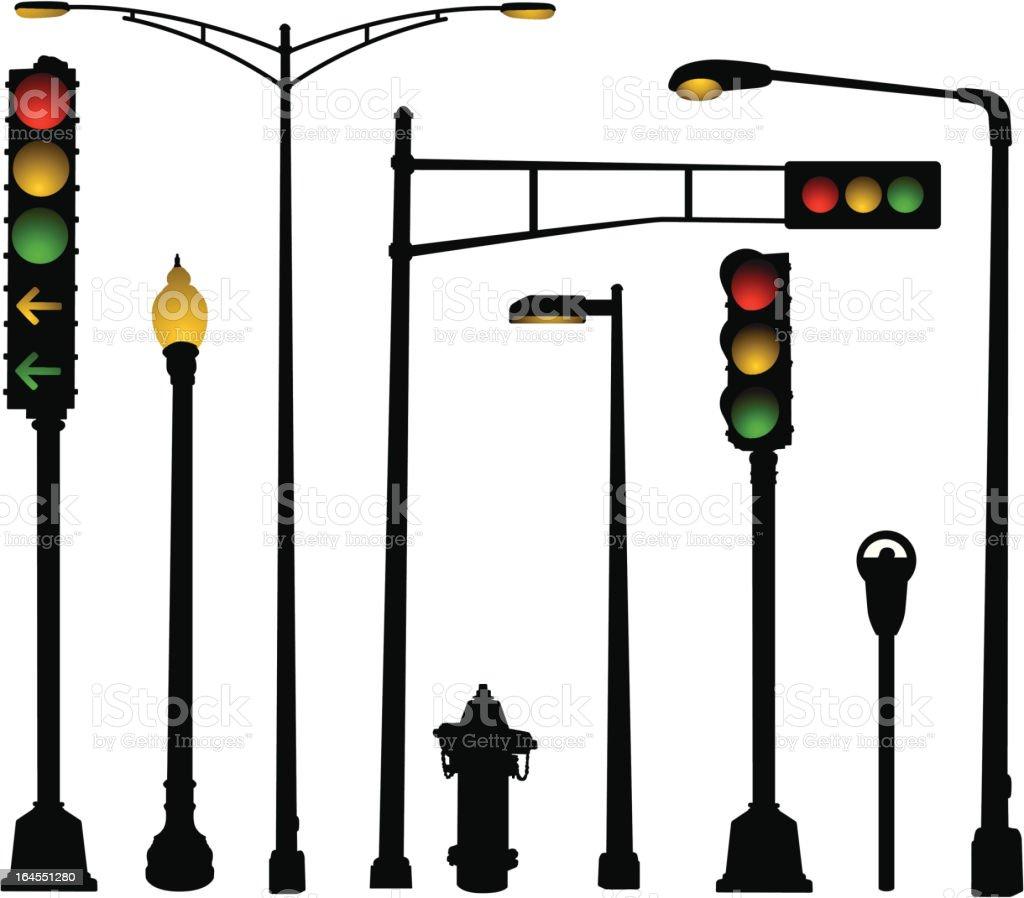 Urban Street Elements vector art illustration