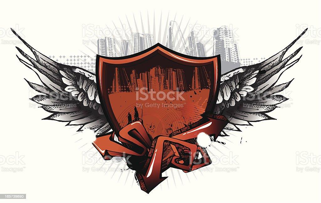 Urban Wings Shield royalty-free stock vector art