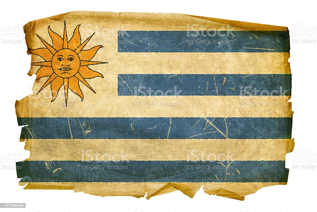 Uruguayan Flag old, isolated on white background royalty-free stock vector art