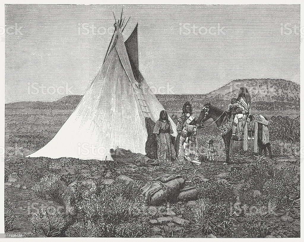 Ute people, wood engraving, published in 1880 vector art illustration