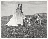 Ute people, wood engraving, published in 1880