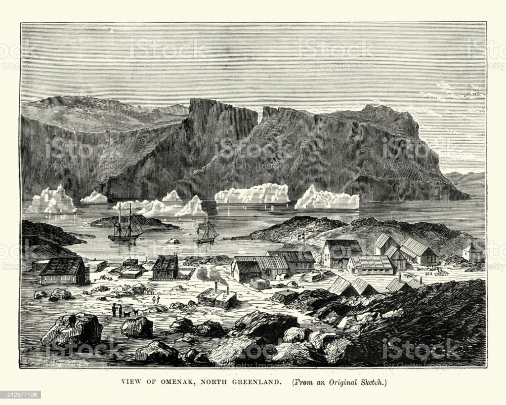 Uummannaq, Greenland in the 19th Century vector art illustration