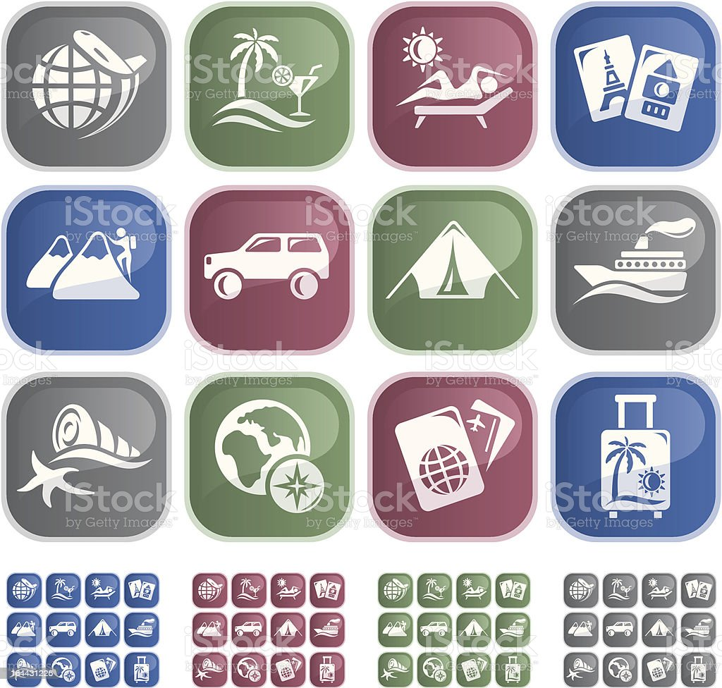 Vacation and travel buttons royalty-free stock vector art
