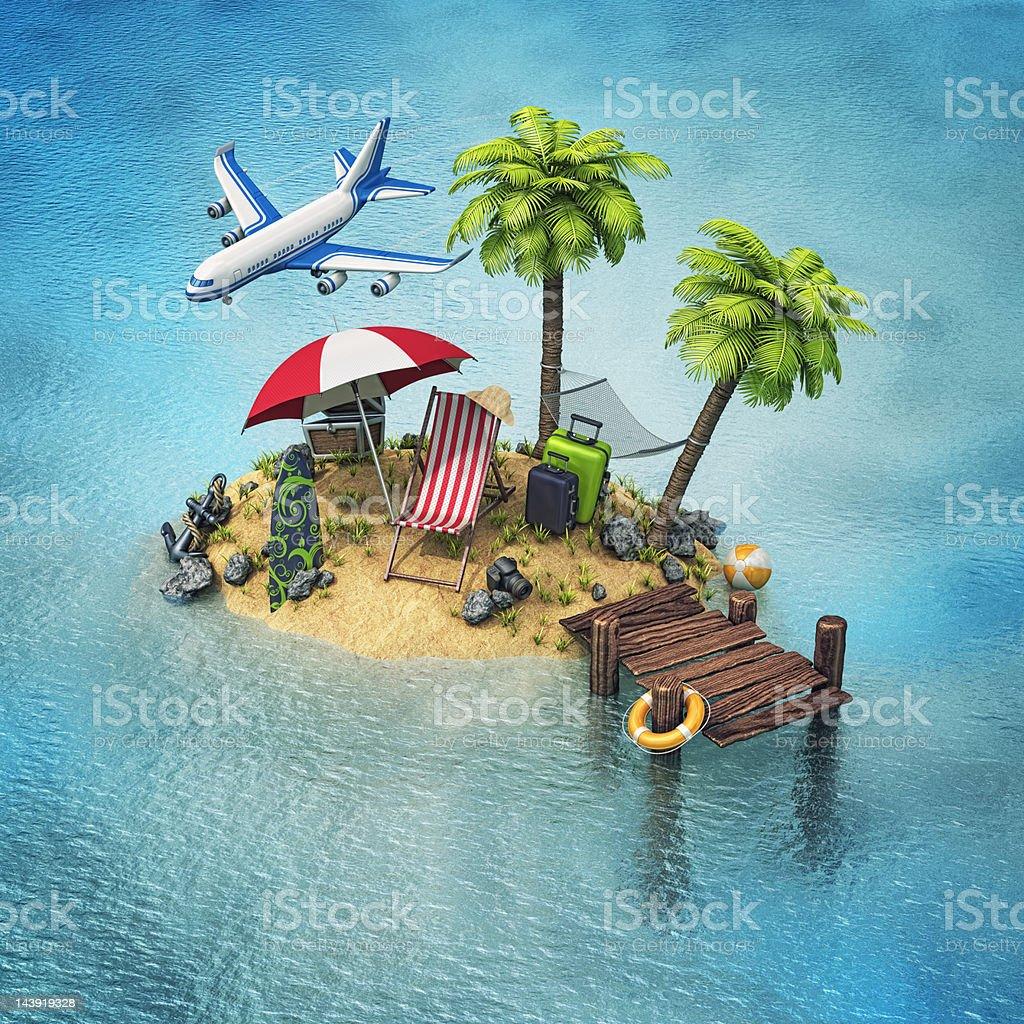 vacation island vector art illustration