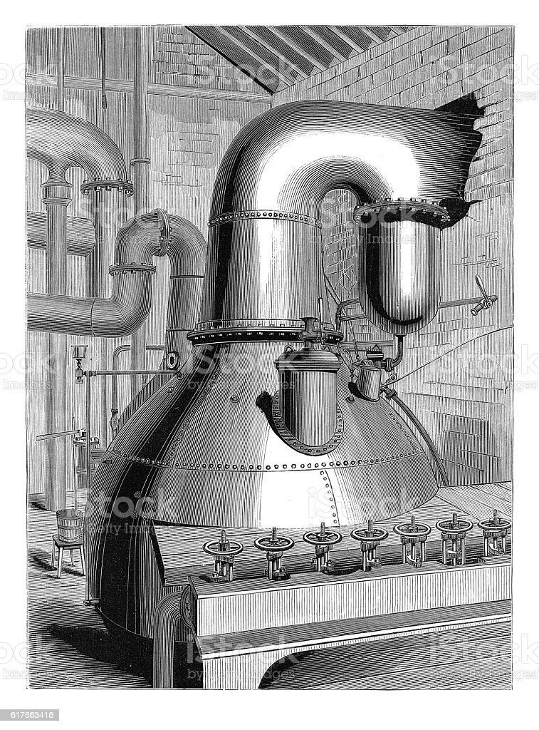 Vacuum-pan at Messrs. Finzel's works (antique engraving) vector art illustration