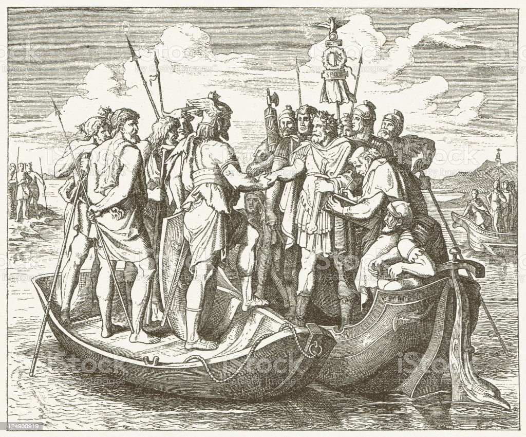 Valens and Athanaric vector art illustration