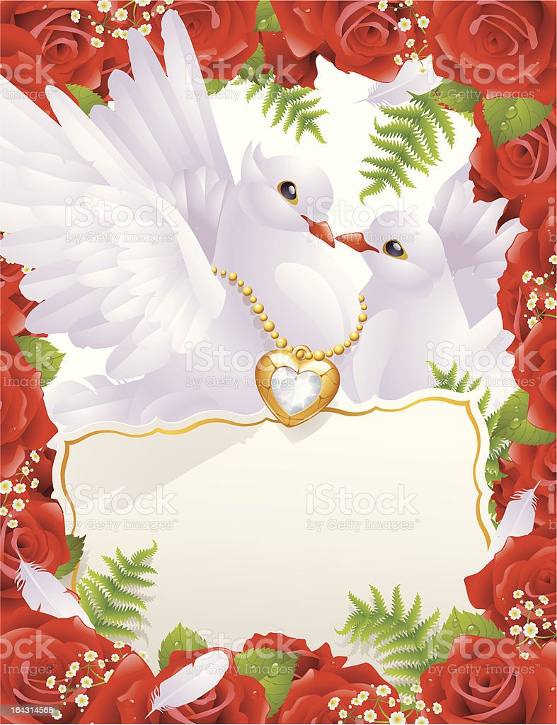 Valentine card with pigeons royalty-free stock vector art