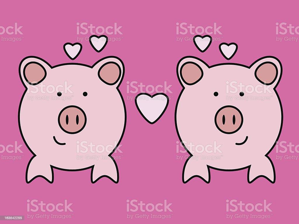 Valentine Pigs [vector] royalty-free stock vector art