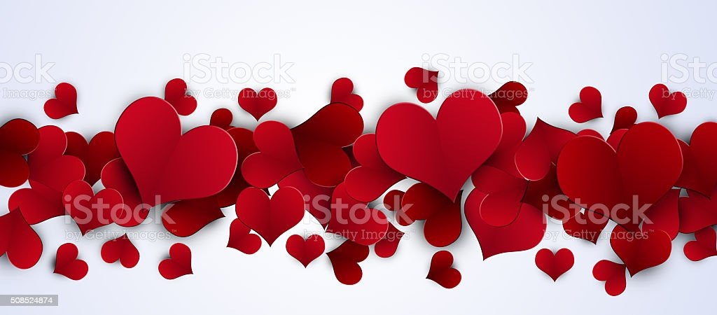 Valentine Red Hearts Banner vector art illustration